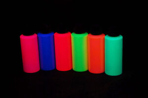6 Pack 2oz Assorted Blacklight Reactive Fluorescent Acrylic Paint