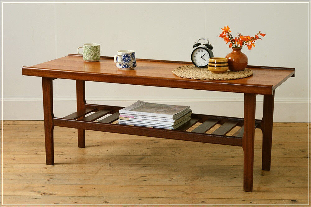 Mid Century Teak G Plan Coffee Table With Rack Danish Design