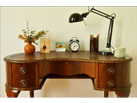 vintage retro desk writing table laptop table kidney shape queen Anne leather