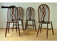 vintage chair chairs dining kitchen farmhouse wheelback early ercol set of 4
