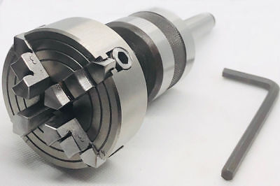 Live Revolving Tailstock With 3 Jaw Self Centering Lathe Chuck 70mm Mt4 Shank