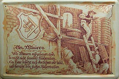 Beruf - Maurer Blechschild, 30 x 20 cm, gewölbt