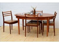 Dining table oval teak vintage mid century danish G Plan