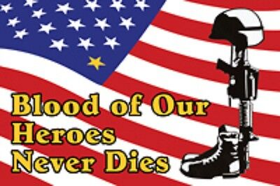 RUMBLING PRIDE BLOOD OF OUR HEROES MOTORCYCLE FLAG  6X9 MADE IN USA
