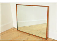 vintage teak frame G Plan mirror mid century danish design + wall mount brackets