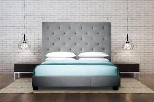 Grey High Back Queen Platform Bed (TI22)