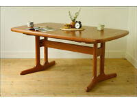 mid century dining table teak A M Mobler Made in Denmark vintage