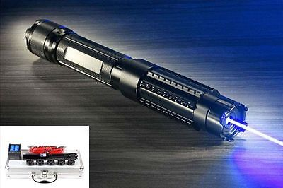 Powerful 445nm Focus Visible Blue Beam Laser Pointer Pen Burn 5mw Adjustable