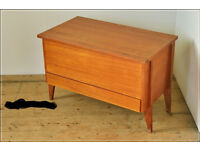 Vintage retro mid century danish design teak sewing box sewing table storage chest
