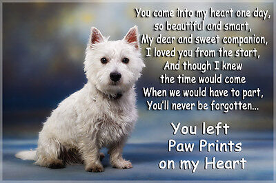 Westie Dog Pet loss Bereavement Gift West Highland white Paw Prints memorial