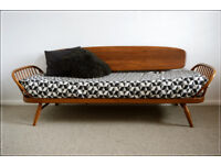 vintage ERCOL DAY BED COUCH STUDIO SOFA SETTEE BEECH / ELM BLONDE