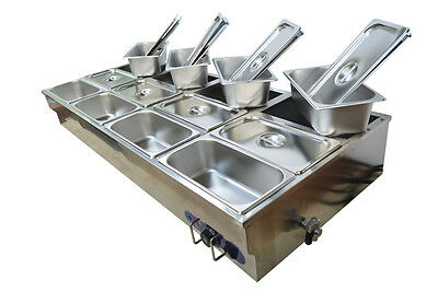 12-pan Countertop Bain-marie Buffet Food Warmer Steam Table 13pans