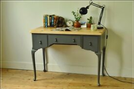 vintage desk writing table Paris Grey shabby chic dresser retro reclaimed top solid wood