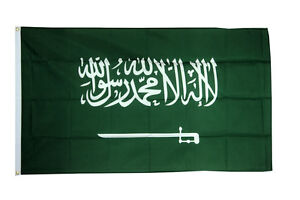Saudi Arabia Large Flag 5 x 3 FT - 100% Polyester With Eyelets Country