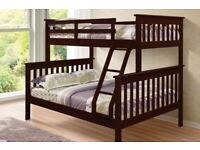 NEW Sturdy Wooden BUNK Beds - single ,single or Single ,Double + Multiple Mattress Options