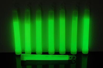 Set of 12 Green Jumbo 6 Inch 12 Hour Safety Glow - Safety Glow Sticks