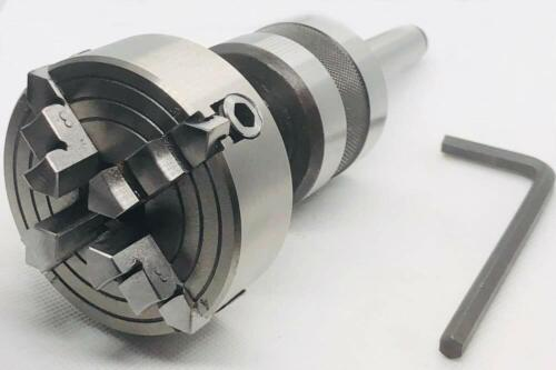 REVOLVING LIVE CENTER MT2 THREADED M14 X 1 WITH 70 MM 4 JAW INDEPENDENT CHUCK