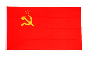 USSR Flag Large 5 x 3' - Soviet Union Communist Socialist Russia Hammer Sickle
