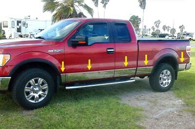 "2009-2014 Ford F-150 Super Cab 5.5' Rocker Panel Trim 10Pc 7"" Stainless Steel"
