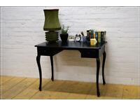 Vintage desk cabriole legs solid wood black console table