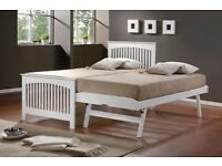 White Solid Wood Guest Bed & Trundle with 2x Pocket Spring Mattresses