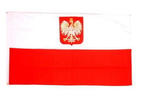 Poland Eagle Crest Flag - Large 5 x 3 FT -  National Country State Emblem Polish
