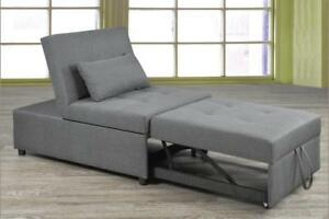 Grey Ottoman/ Chair / Bed (TI3)