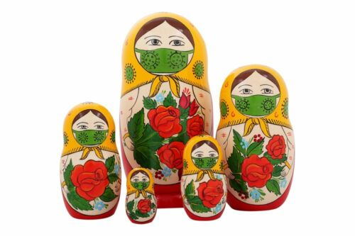 Matryoshka Russian Traditional 5pcs | Masked | Hand painted