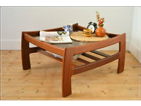 intage coffee table G Plan solid teak glass top danish design mid century very good condition
