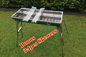 New Stainless Steel Charcoal BBQ Grill with 24pcs FREE skewers Brisbane City Brisbane North West Preview
