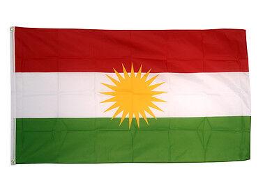 Kurdistan Flag 5 x 3' - 100% Polyester With Eyelets - Kurds Kurdish YPG PKK