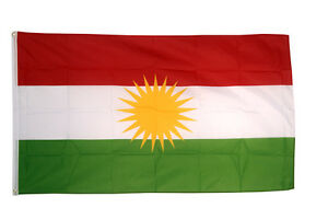 Kurdistan Flag 5 x 3' - 100% Polyester With Eyelets - Kurds Kurdish YPG PKK