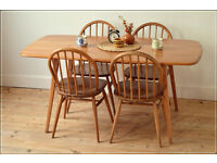 vintage Ercol dining table kitchen table plank elm blonde