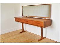 vintage dressing table teak sideboard desk Austin Suite danish design mid century tv stand