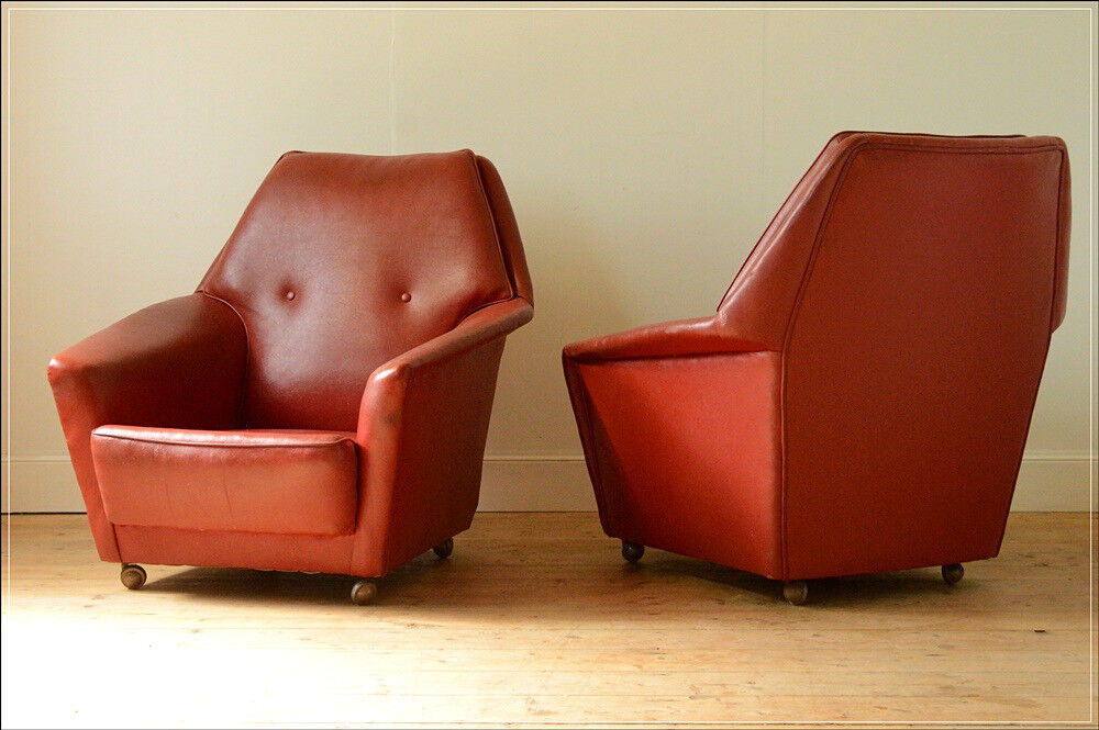 mid century armchair red leather vintage Furnwood of Long Eaton danish design 2 available