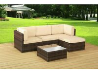 CORNER RATTAN GARDEN FURNITURE SET RATTAN TABLE CHAIRS OUTDOOR PATIO BROWN - FREE DELIVERY