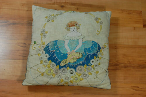 Antique 1920s Nouveau Linen Velvet Hand Embroidered Painted Pillow Girl Flowers