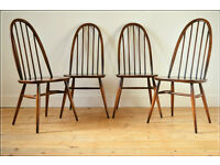 vintage genuine Ercol chair chairs dining quarker set of 4 VGC blue label