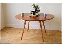 vintage genuine Ercol blonde dining table kitchen table drop leaf blonde