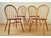 vintage Ercol chair chairs dining set of 4 blonde blue label