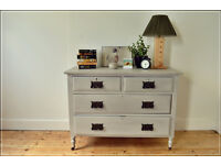 vintage antique Victorian large chest of drawers on castors shabby chic retro