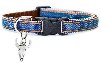 New Handmade Chic Denim Quality Fashion Cat Collar w/ Bull Cow Charm USA Ship