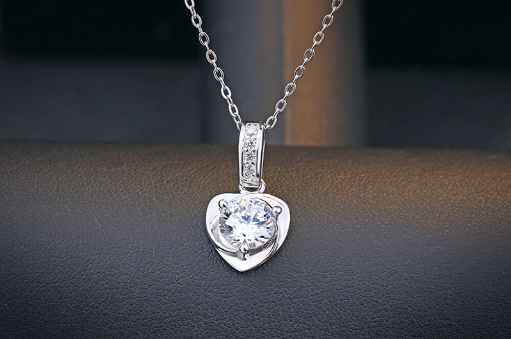 Women Solid 925 Sterling Silver Crystal Heart Pendant Necklace Chain Jewelry Fashion Jewelry