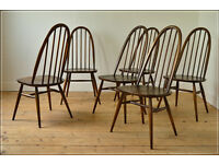 vintage Ercol chair chairs dining kitchen quarker set of 6