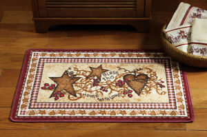 Country Hearts And Stars Berries Folk Art Primitive Shower Curtain Valance Rug