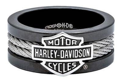 Harley Davidson Black Ring - Harley-Davidson Men's Black Bar & Shield Steel Cable Ring HSR0021