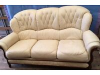 3 seater and chair cream leather