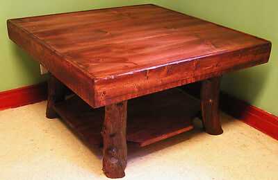 Cherry Solid Pine Table (Adirondack Coffee Table Rustic Wood Square Log Cabin Furniture FREE SHIPPING )