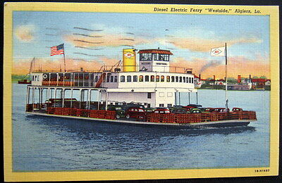 "ALGIERS Louisiana ~ 1940's DIESEL ELECTRIC FERRY ""WESTSIDE""...Filled with Cars"