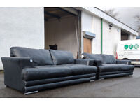 xDisplay DFS Lemans Calvino black leather 3 seater sofas DELIVERY AVAILABLE